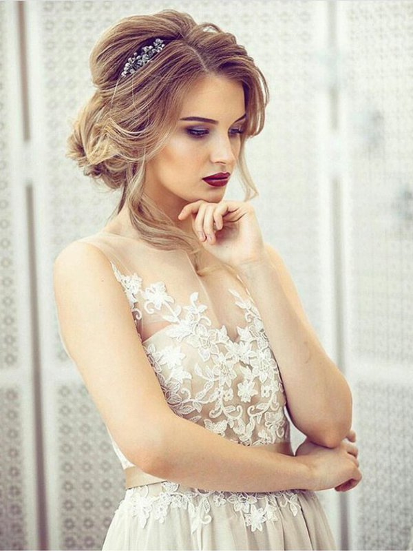 Открытое свадебное платье с кружевом Ildy 112a