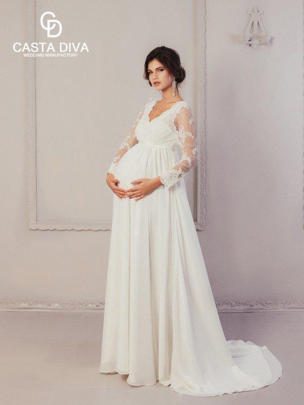 Открытое свадебное платье с кружевом Gilvy 979
