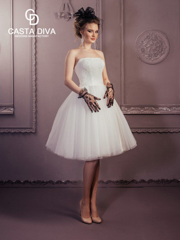 Короткое пышное свадебное платье Valery 0122a