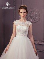 Пышное кружевное закрытое свадебное платье арт. 0123