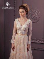 Свадебное платье А силуэт полностью кружевное с рукавами арт. 0211 мокко