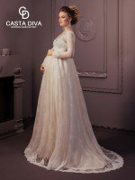 Свадебное платье А силуэт полностью кружевное с рукавами арт. 795