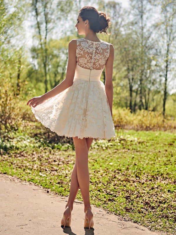 Свадебное платье короткое кружевное Seksta 890
