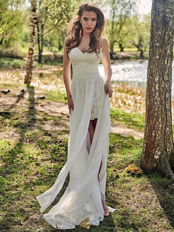 Свадебное платье спереди короткое сзади длинное Amalia 133