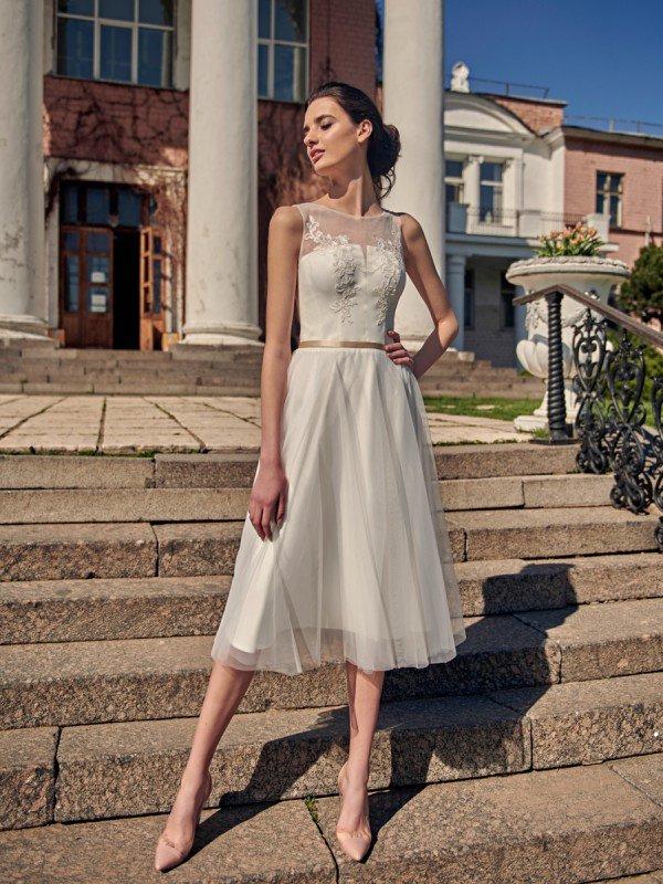 Открытое свадебное платье с кружевом Silvy 314