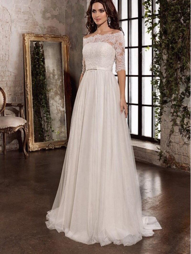 Свадебное платье А силуэт закрытое с кружевными рукавами арт. 0161