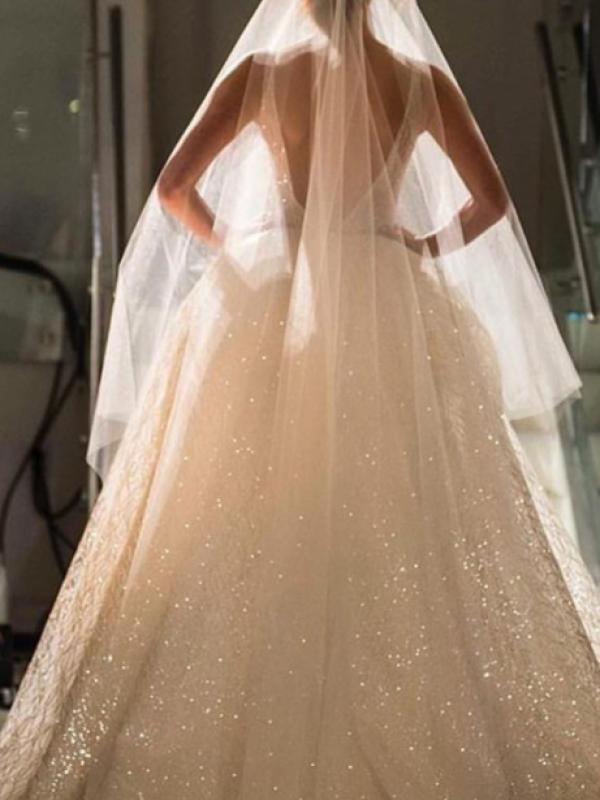 Свадебное платье с блестками 0369a
