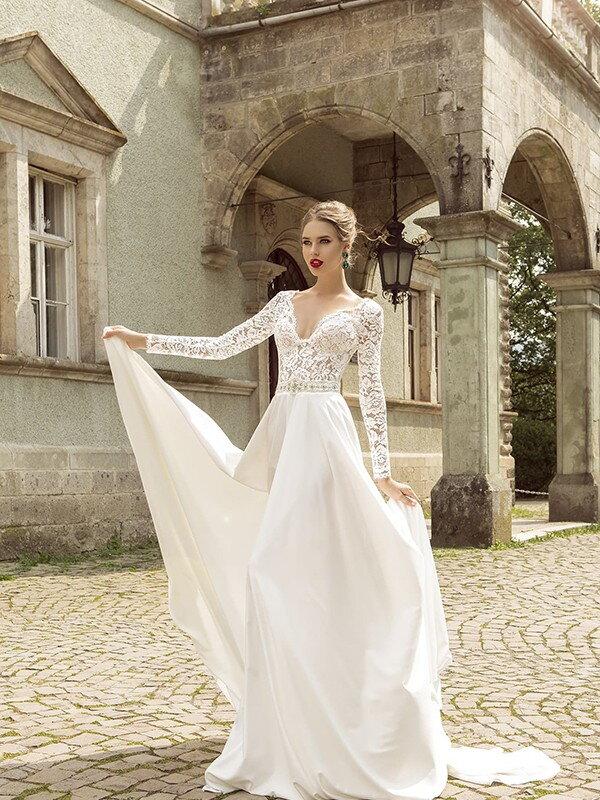 Открытое свадебное платье с кружевом 0355a