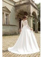 Свадебное платье А силуэт с кружевными рукавами арт. 355