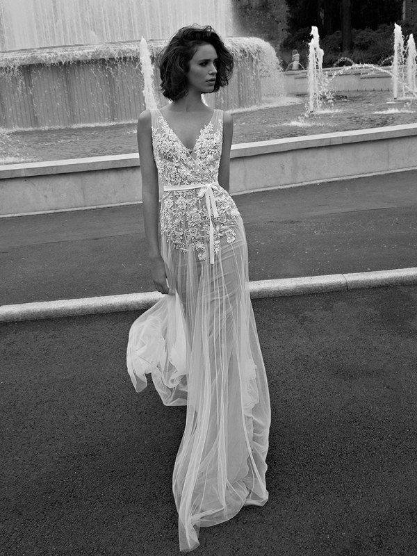 Прямое свадебное платье с кружевом 0469a