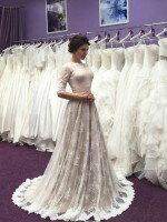 Свадебное платье А силуэт закрытое с кружевным верхом арт. 354 Мокко