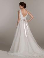 Свадебное платье А силуэта с кружевным верхом арт. 0479