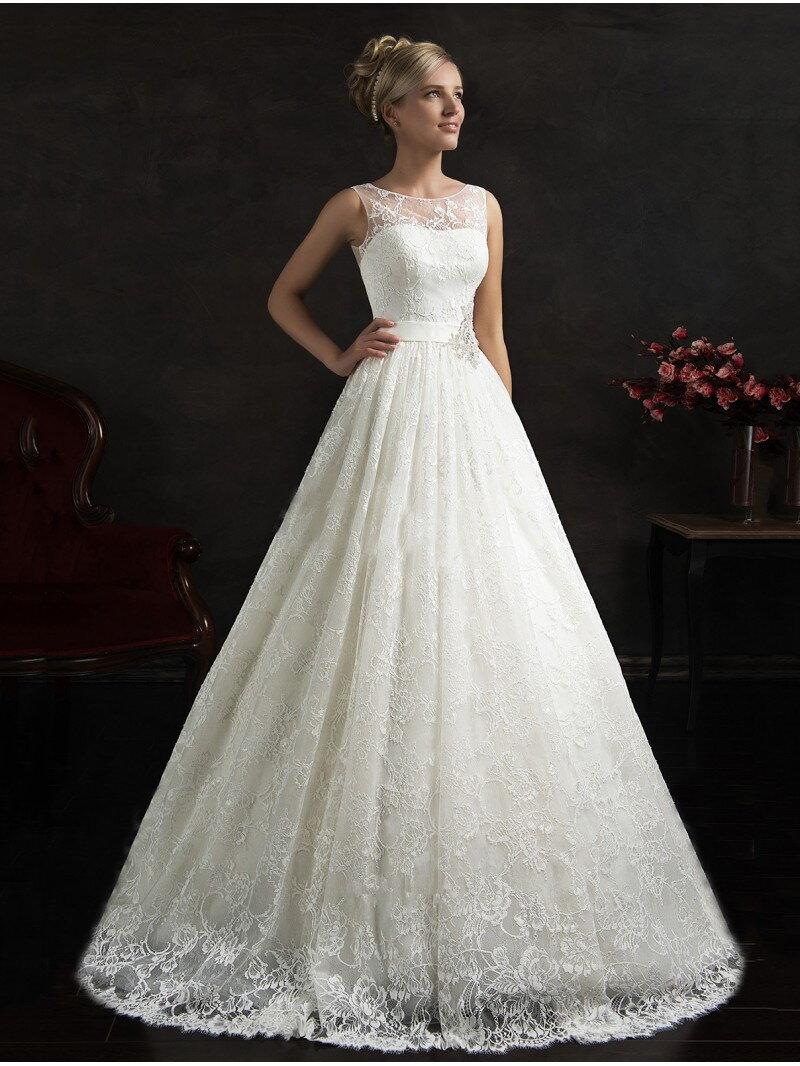 Свадебное платье А силуэта кружевное арт. 0614