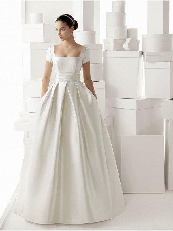 Атласное свадебное платье для беременных 0644a