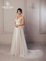 Свадебное платье А силуэт со шлейфом и кружевом арт. 469