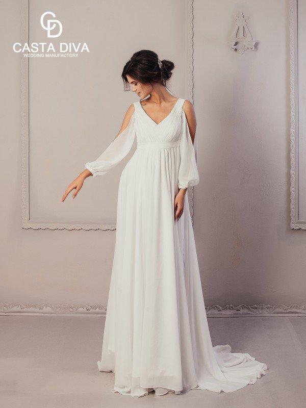 Открытое свадебное платье с бантом Liza 899