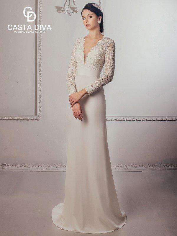 Необычное свадебное платье с рукавами 056a
