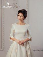 Атласное свадебное платье с отстегивающимся шлейфом арт. 824
