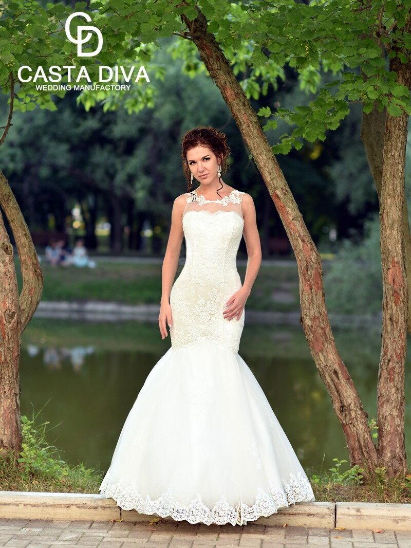 Свадебное платье рыбка полностью кружевная арт. 071