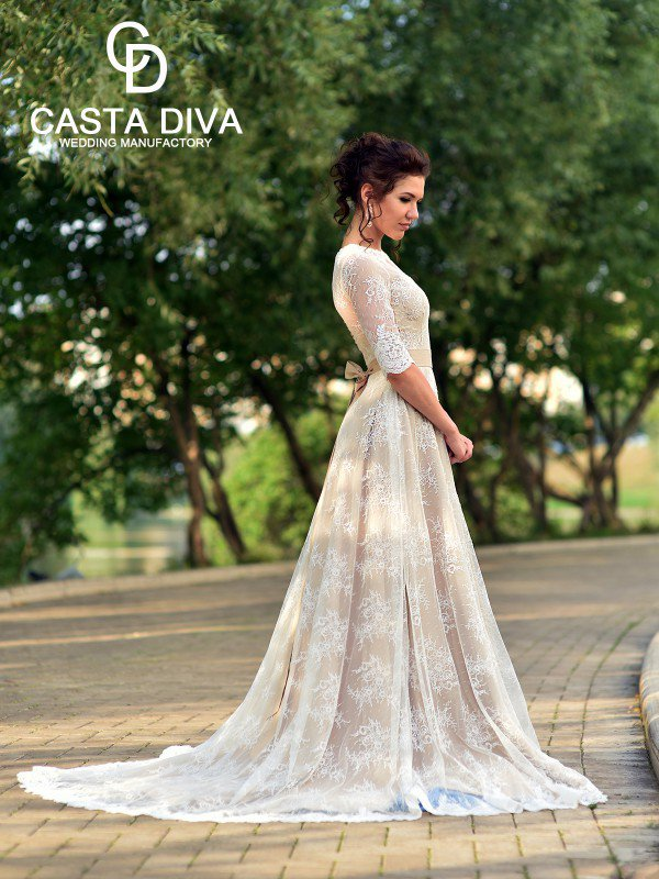 Необычное свадебное платье с рукавами Samanta 354m