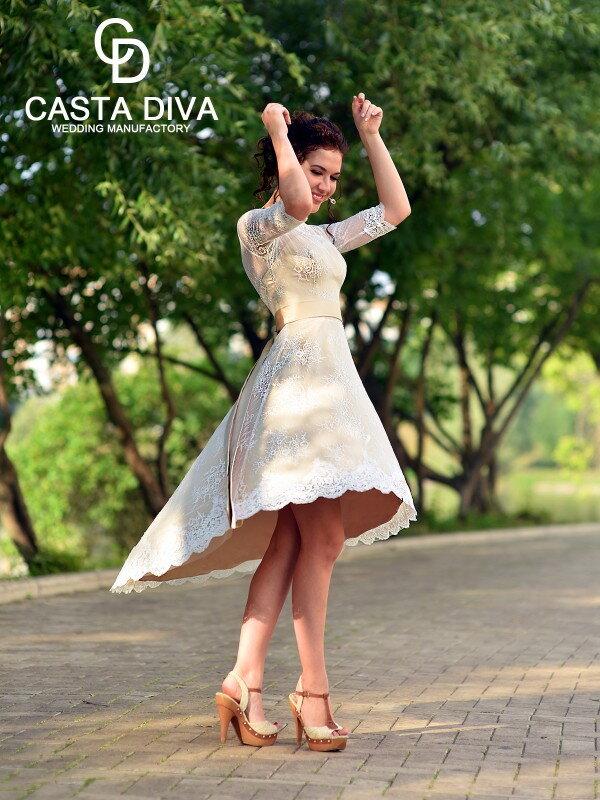 Свадебное платье короткое кружевное Lulu 462m