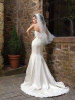 Свадебное платье рыбка атласное с кружевом арт. 707