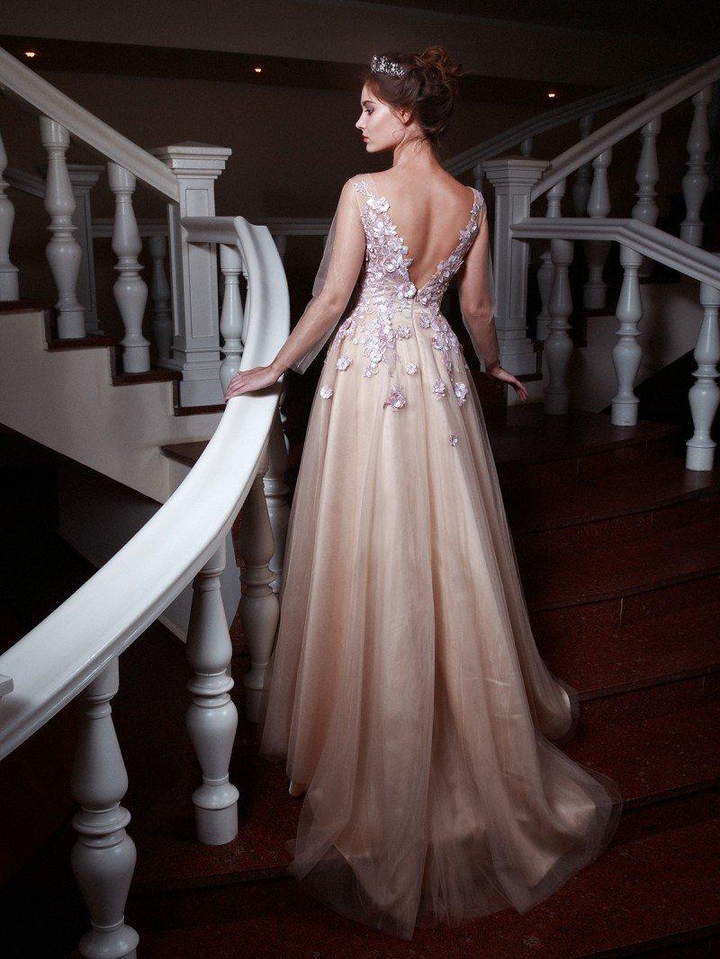 Свадебное платье А силуэта необычного оттенка арт. 981