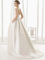Свадебное платье А силуэт из атласа с карманами арт. 225