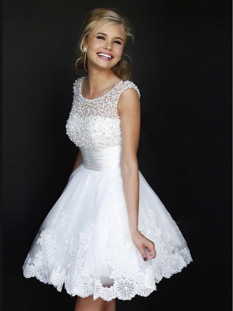 Фото короткое белое свадебное платье