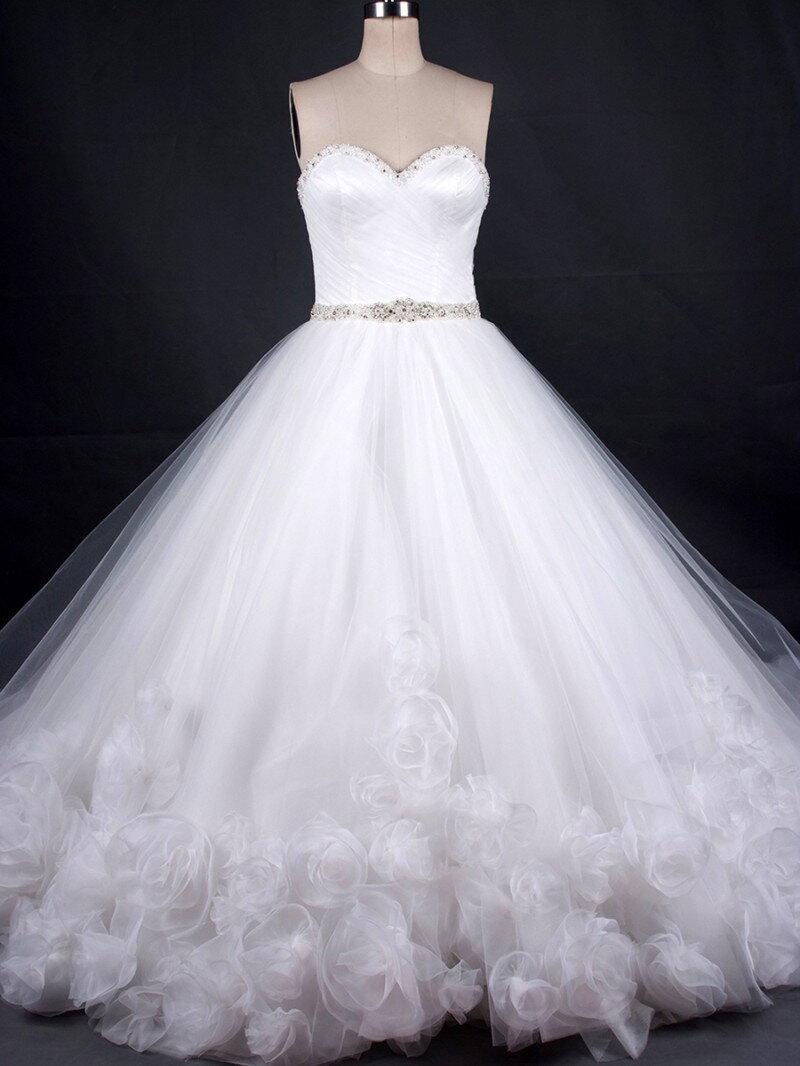 Пышное свадебное платье с розочками из фатина арт. 207