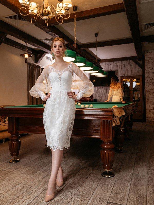 Свадебное платье миди с рукавами Mira 290