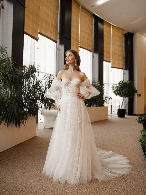 Свадебное платье короткое кружевное Columba 726