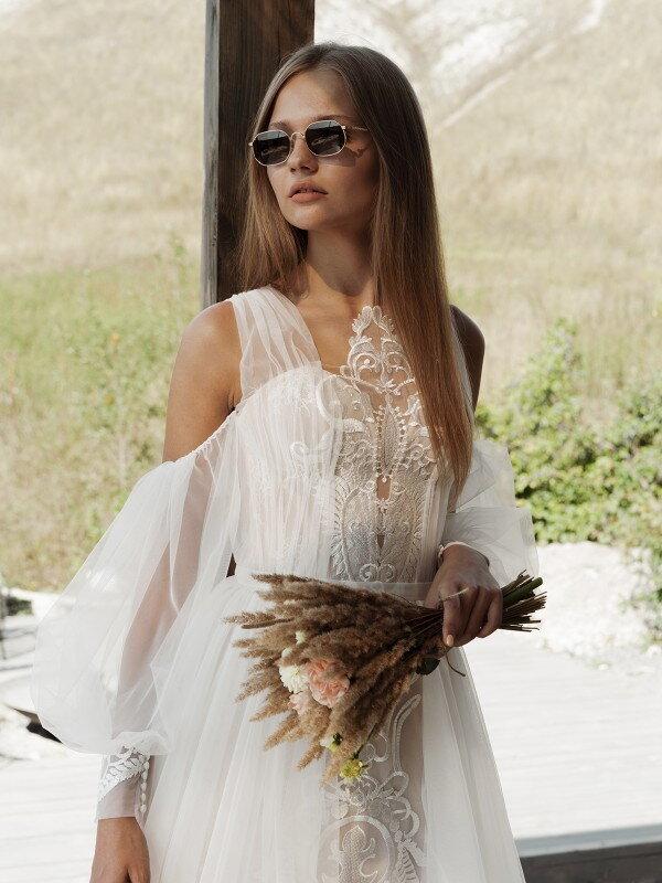 Свадебное платье шампань Penelopa 2821