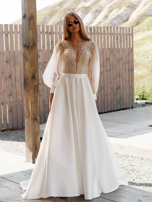Свадебное платье со шлейфом Eva 3221