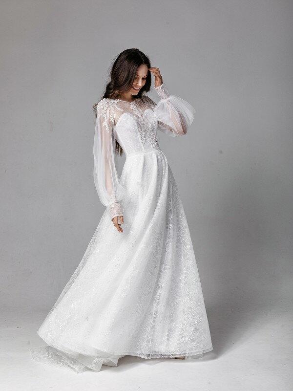 Свадебное платье со шлейфом Rebekka 4021