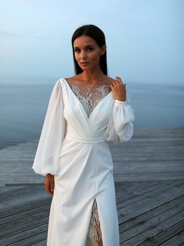 Длинное свадебное платье со шлейфом Camilla 7022 Люкс