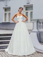 Атласное свадебное платье А силуэт со съемным болеро арт. 189