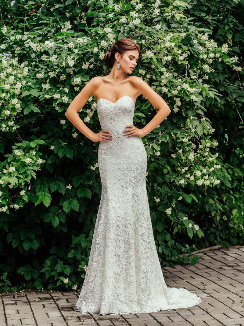 Свадебное платье рыбка полностью кружевное арт. 0299