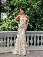 Свадебное платье рыбка кружевное со съемным болеро арт. 299 мокко