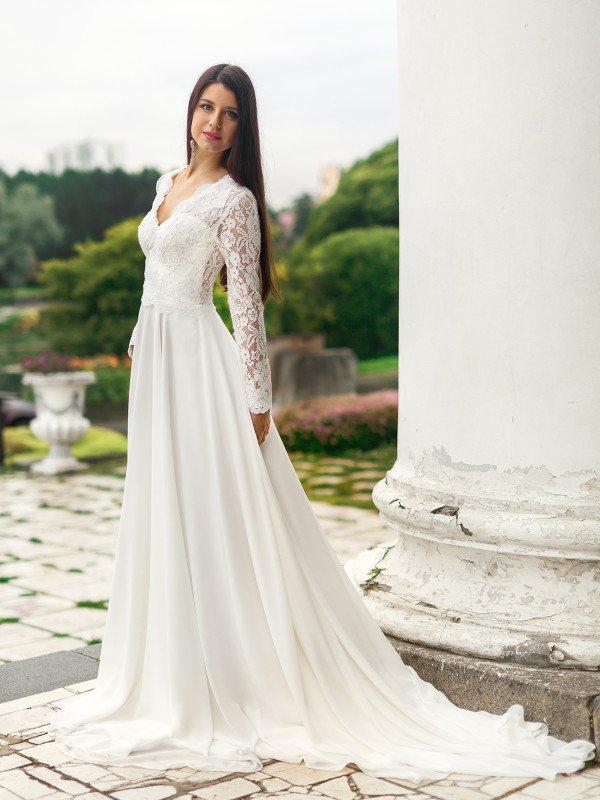Молочное свадебное платье Dovote 355