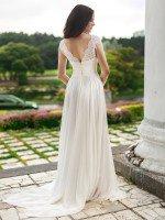 Свадебное платье А силуэт с кружевным верхом арт. 359