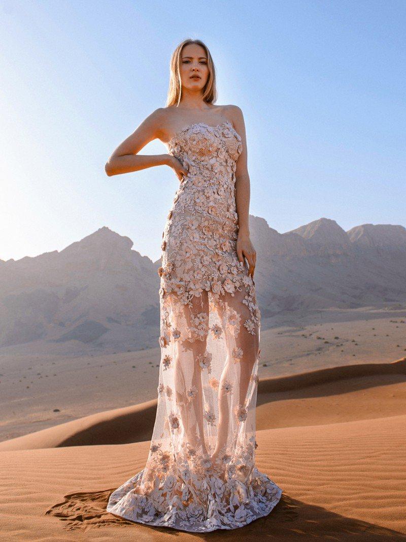 Прямое кружевное свадебное платье необычного цвета арт. 100