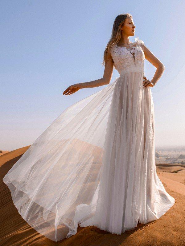 Открытое свадебное платье с кружевом Lilu 218