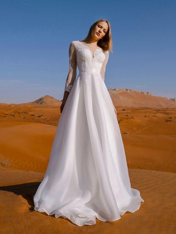 Открытое свадебное платье с кружевом Esra 980a