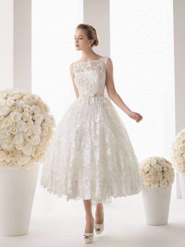 Свадебное платье короткое кружевное 0890a