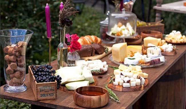 Food bars at wedding