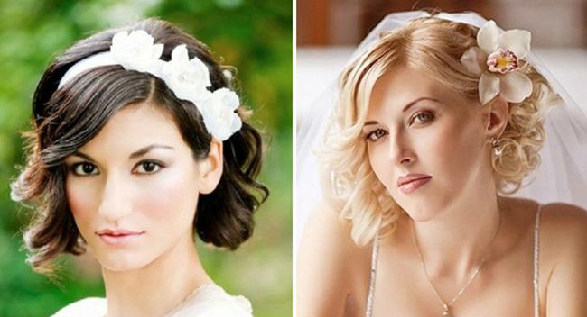 Прически на короткий волос для свадьбы фото для
